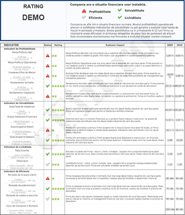 Rating Financiar DERATEX CONSULT SRL